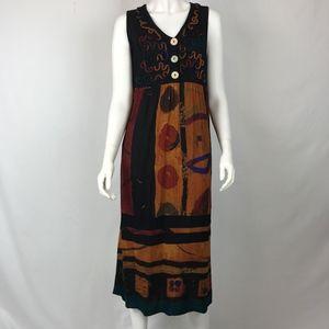Carole Little  Vtg Artistic Midi Dress  12P